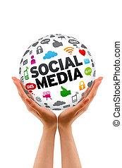 sphère, média, social, tenant mains