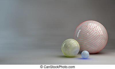 sphères, résumé, fond, 3d