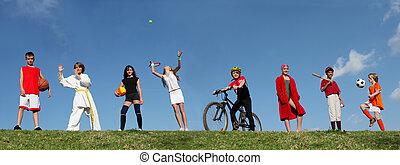 sports été, camp, gosses