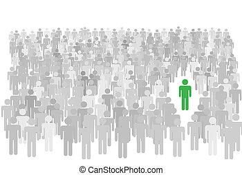 stands, foule, gens, symbole, grand, personne, individu, dehors