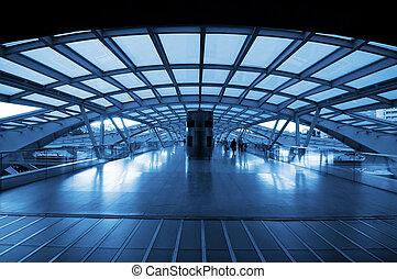 station, train, architecture moderne