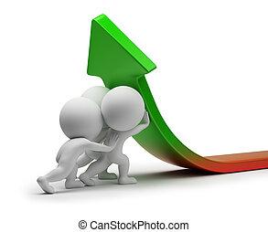 statistiques, gens, -, amélioration, petit, 3d