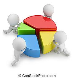 statistiques, gens, -, collaboration, petit, 3d