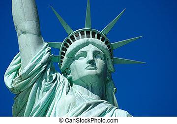 statue, 2, liberté