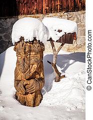 statue, bois