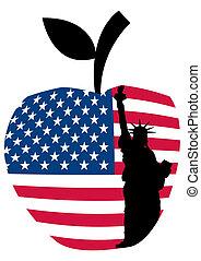 statue, grand apple, liberté