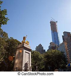 statue, parc central, doré