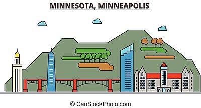 strokes., silhouette, repères, bâtiments, skyline:, minneapolis., concept., minnesota, paysage, vecteur, ligne, plat, architecture, panorama, ville, editable, conception, rues, illustration, icons.