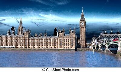 style, angleterre, palais, icônes, autobus, vendange, londres, mouvement, uk., westminster., retro, grand ben, rouges
