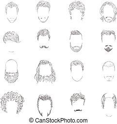 style cheveux, ensemble, homme