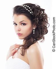 style, maquillage, fiancee., -, jeune, doux, mariage, coiffure