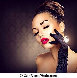 style, mode, beauté, vendange, charme, portrait., girl