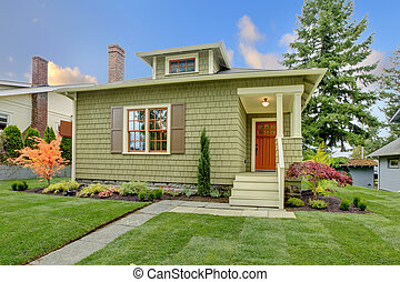 style, rénové, house., vert, artisan, petit