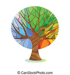 stylisé, arbre, -, quatre saisons