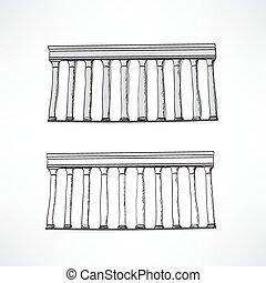 stylisé, colonnes grecques