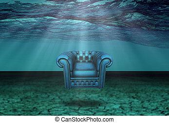 submergé, chaise, flotte, désert