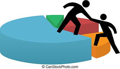 succès financier, business, graphique circulaire, main aidant