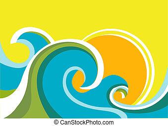 sun., fond couleur, mer, vagues, vecteur, marine, affiche, nature