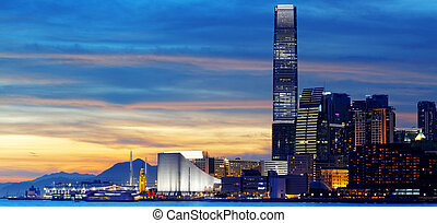 sunset., horizon, hong kong