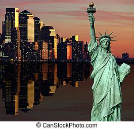 sur, hudson, midtown, horizon, york, nouveau, rivière