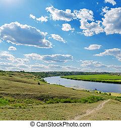 sur, rivière, ciel, nuageux