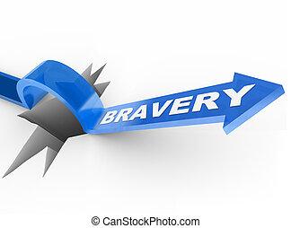 sur, sauter, courage, aides, flèche, survivre, trou, bravoure