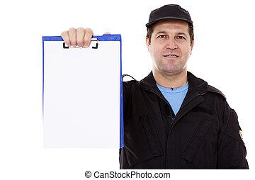 sur, whiteboard, isolé, bas, mûri, blanc mâle, indiquer