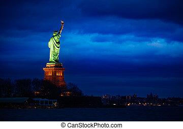 sur, york, liberté, cityscape, statue, nouveau, nuit