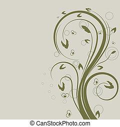 swirly, space., élément, vecteur, conception, floral, vert, copie