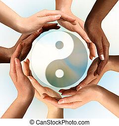 symbole, yin, multiracial, entourer, yang, mains
