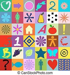 symboles, carrés, coloré, seamless
