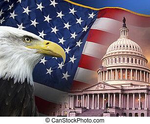 symboles, uni, -, etats, patriotique, amérique