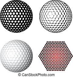 symboles, vecteur, balle golf