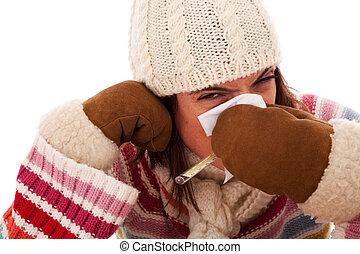 symptômes, femme, grippe