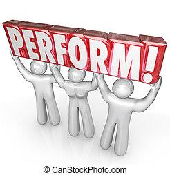 tâche, gens, exécuter, métier, prendre, mots, action, instrument, levage