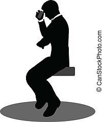 téléphone, gens, silhouette, business, séance