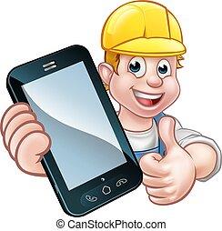téléphone, ou, concept, mécanicien, bricoleur