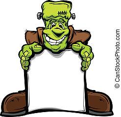 tête, monstre, image, halloween, signe, vecteur, tenue, frankenstein, dessin animé, heureux