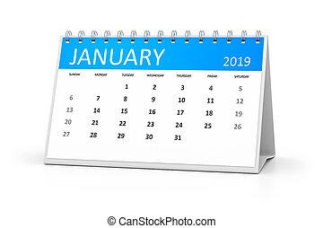 table, calendrier, 2019, janvier