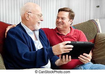 tablette, père, fils, pc, apprécier