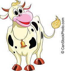 tacheté, dessin animé, vache