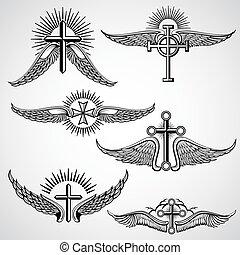 tatouage, éléments, vendange, croix, vecteur, ailes