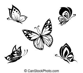 tatouage, blanc, noir, papillons