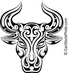 tatouage, symbole, zodiaque, taureau