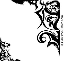 tatouage, tribal, graphique, ailes