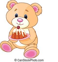 teddy, gâteau, ours