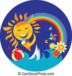 tenue, bleu, heureux, crème soleil, glace