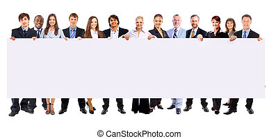tenue, gens, bannière, business, fond, longueur, isolé, entiers, rang, beaucoup, vide, blanc