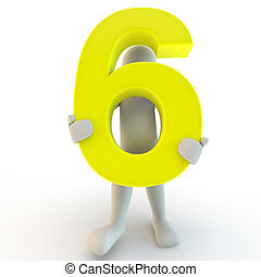 tenue, gens, caractère, nombre, jaune, six, humain, petit, 3d
