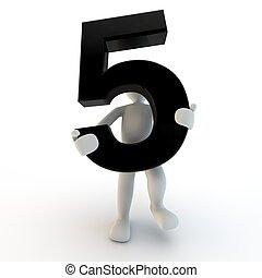 tenue, gens, caractère, numéro 5, noir, humain, petit, 3d
